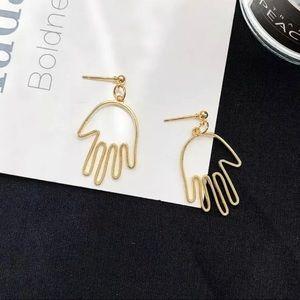 Abstract Hand Gold Metal Dangle Earrings
